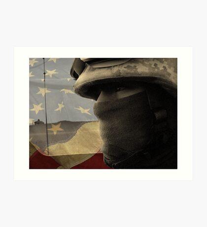Face of War (American Flag) Art Print
