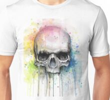 Watercolor Skull Rainbow Colorful Painting Unisex T-Shirt