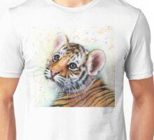 Tiger Cub Watercolor Painting Kids Illustration Nursery Art print Unisex T-Shirt