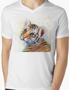 Tiger Cub Watercolor Painting Kids Illustration Nursery Art print Mens V-Neck T-Shirt
