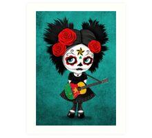 Sugar Skull Girl Playing Cameroon Flag Guitar Art Print