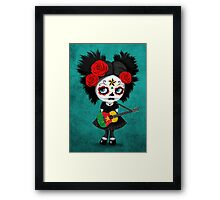 Sugar Skull Girl Playing Cameroon Flag Guitar Framed Print
