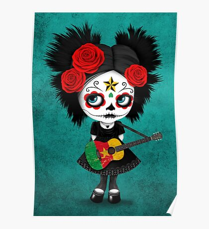 Sugar Skull Girl Playing Cameroon Flag Guitar Poster