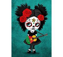 Sugar Skull Girl Playing Cameroon Flag Guitar Photographic Print