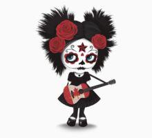 Sugar Skull Girl Playing Canadian Flag Guitar One Piece - Short Sleeve