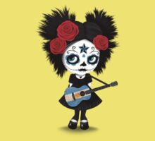 Sugar Skull Girl Playing Argentinian Flag Guitar Kids Tee