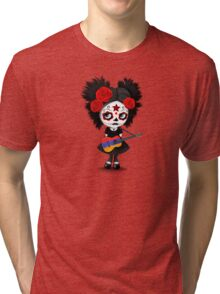 Sugar Skull Girl Playing Armenian Flag Guitar Tri-blend T-Shirt