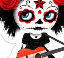 Sugar Skull Girl Playing Austrian Flag Guitar Sticker