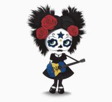 Sugar Skull Girl Playing Barbados Flag Guitar One Piece - Long Sleeve