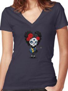 Sugar Skull Girl Playing Barbados Flag Guitar Women's Fitted V-Neck T-Shirt