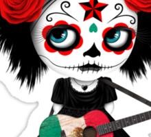 Sugar Skull Girl Playing Mexican Flag Guitar Sticker