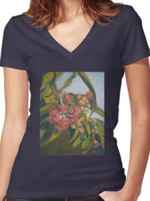 Afternoon Blossoms Women's Fitted V-Neck T-Shirt