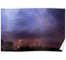 Multiple Lightning Strikes form Colorful Thunderstorm Clouds Poster