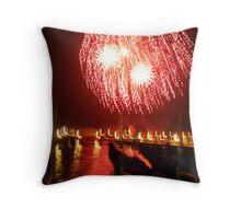 fireworks over gondolas Throw Pillow