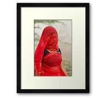 The Beauty in Red Veil. Framed Print