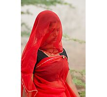 The Beauty in Red Veil. Photographic Print