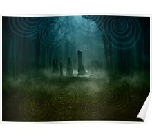 Standing Stones I - Blue Poster