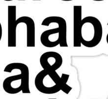 Idina Menzel Character List (Black Text) Sticker