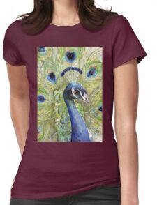 Peacock Watercolor Womens Fitted T-Shirt