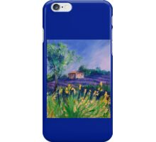 Lavender Field With Yellow Flowers painting iPhone Case/Skin