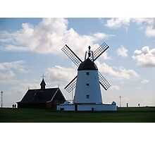 Lytham landmarks,lifeboat house and windmill Photographic Print