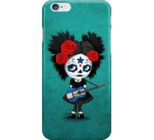 Sugar Skull Girl Playing El Salvador Flag Guitar iPhone Case/Skin