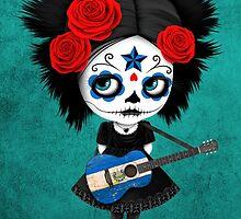 Sugar Skull Girl Playing El Salvador Flag Guitar by Jeff Bartels