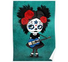 Sugar Skull Girl Playing El Salvador Flag Guitar Poster