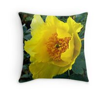Golden Tree Paeony Throw Pillow