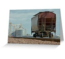 A Lone Grain Hopper Stands Idle on the Tracks Greeting Card