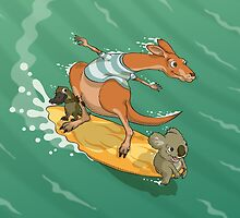 Surfing kangaroo and friends by pixbyr