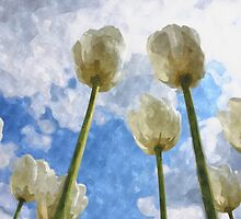 White tulips on cloudy sky watercolor by Natalia Bykova
