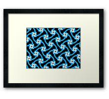 Blue on blue and white flower Framed Print