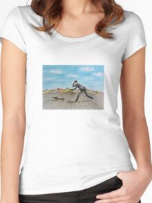 Walk with dog Women's Fitted Scoop T-Shirt