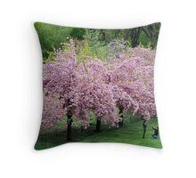 Cherry Blossom Portrait Throw Pillow