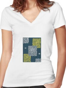 yellow, white, blue ornament Women's Fitted V-Neck T-Shirt