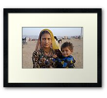 Gypsy woman with Child at Camel Fair Framed Print