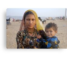 Gypsy woman with Child at Camel Fair Metal Print