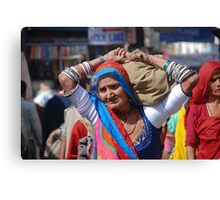 Old Woman at Camel Fair Pushkar Canvas Print