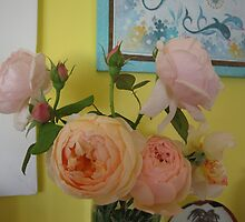 Soft coloured roses in my loungeroom. by Marilyn Baldey