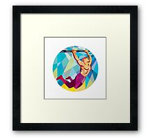 Crossfit Pull Up Bar Circle Low Polygon Framed Print
