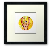 Cross-fit Training Weights Ring Circle Low Polygon Framed Print