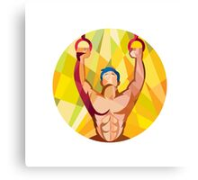 Cross-fit Training Weights Ring Circle Low Polygon Canvas Print