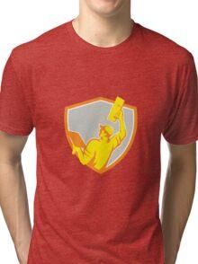 Plasterer Masonry Trowel Raise Up Retro Tri-blend T-Shirt