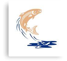 Atlantic Salmon Fish Jumping Water Isolated Canvas Print