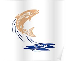 Atlantic Salmon Fish Jumping Water Isolated Poster