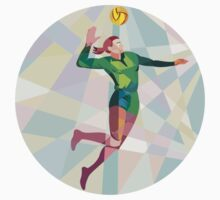 Volleyball Player Spiking Ball Jumping Low Polygon by patrimonio