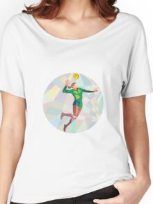 Volleyball Player Spiking Ball Jumping Low Polygon Women's Relaxed Fit T-Shirt