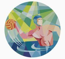 Water Polo Player Throw Ball Circle Low Polygon by patrimonio