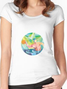 Water Polo Player Throw Ball Circle Low Polygon Women's Fitted Scoop T-Shirt